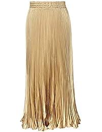 Morbuy Falda Mujer Larga Falda Casual para el Metálico Lustre Brillante  Cintura Elástico Plisada Falda de 676198d5a83e