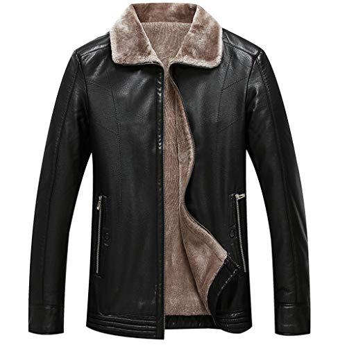 NHX Herren Lederjacke Antik Winter-Lederjacken aus gewaschenem Leder Motorradjacke Zipper Leder Jacke windundurchlässiges Military Peacoat,Black-175