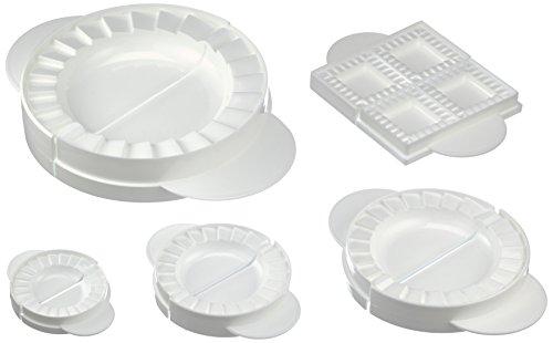 WENKO 2992010500 Teig- & Maultaschenformen - mit Rezepten, 5-teilig, Polypropylen, Weiß