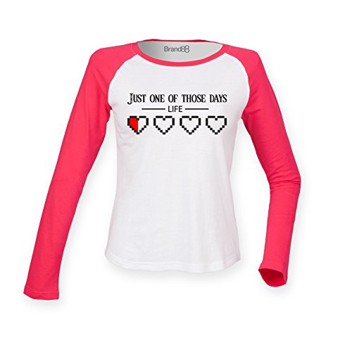 Brand88 - Just One Of Those Days Damen Langarm Baseball T-Shirt Weiss & Rosa