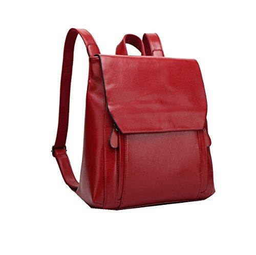 Yy.f Nuove Borse Ms. Cera Di Petrolio Tracolla In Pelle Collegio Zaini Borse Di Moda Una Varietà Di Colori Red