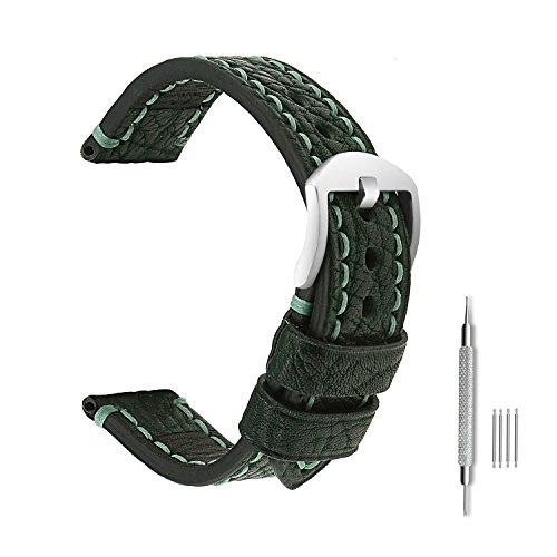 omyzam Herren Leder Ersatz Uhr Armband mit Mode Sport und Freizeit Zubehör Dornschließe aus Edelstahl Grün 22mm