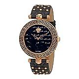 Versace Damen Analog Quarz Uhr mit Leder Armband VK7530017