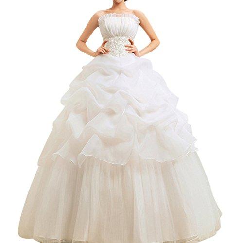 A-Linie Bodenlang Kleid Trägerlos Hochzeitskleid Mit Schnuerung Beige S