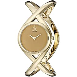 Calvin Klein Women's Quartz Watch with Gold Dial Analogue Display and Gold Stainless Steel Bracelet K2L24509