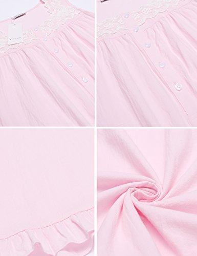 Ekouaer Damen Nachthemd Ärmellos Baumwolle mit Spitze Dekoration Nachtkleid Fronttasten Gemütlich locker viktorianischer Stil Nachtwäsche Blau/Weiß/Rot/Grau/Rosa((S-XXL) Z Rosa