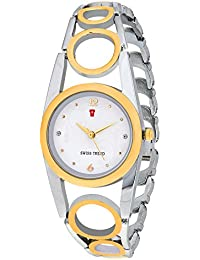 Swiss Trend Marvelous Dual Colour Women Wrist Watch With White Dial