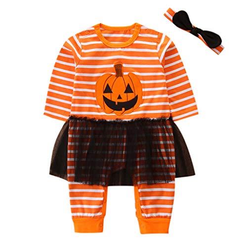 Realde Unisex Baby Jungen Mädchen Jumpsuit +Hat Trainingsanzug Outfits Set Halloween Kleidung 3-24Month Säuglings Kleinkind Langer Hülsen-Kürbis-Spielanzug-Hut mit Gestreifter Pant - Little Pig Kleinkind Kostüm
