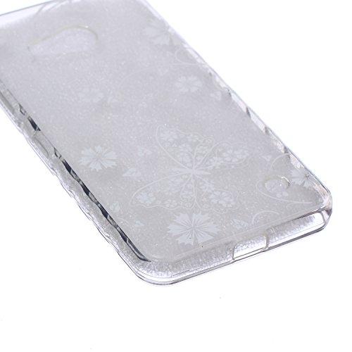 iPhone 6/6s Plus 5.5 Inch Cas Case,iPhone 6/6s Plus couverture,24/7 boutique Noir Lace Lotus Concevez Scratch Anti-TPU Protection Goutte Siliciume pare-chocs Retour couverture de housse Ultra Slim min Papillon Blanc