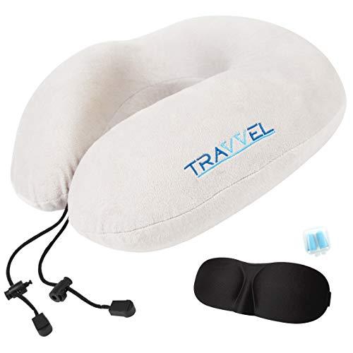 Nackenkissen Reisen TRAVVEL® | Design Nackenhörnchen Memory Foam für Reisen & zu Hause | verschiedene Farben | Flauschiger Velour-Bezug | inkl. Tasche, Schlafmaske & Ohrstöpsel