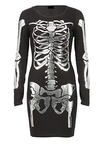 Damen Mädchen Halloween Folie Metallic Skeleton Print Bodycon Minikleid EUR Größe 36-42 (S/M (EUR 36-38), (Custome Halloween Kinder Für)
