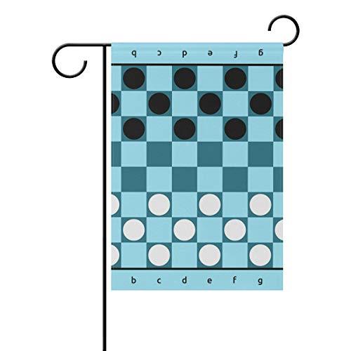 DEZIRO Checkers Game Blue Board Yard Flag Custom Garden Flag Double Side, Polyester, 1, 28x40(in)