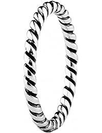 TAOTAOHAS oxidada antiguo sólido plata de ley 925/1000 anillo [ entrelazados, Talla 12 ] Montar Pulseras Collares Europea