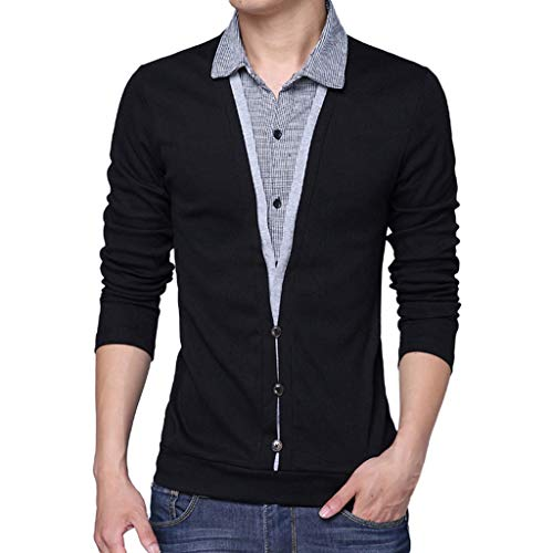 Preisvergleich Produktbild MEIbax Herren Frühling Casual Revers gefälschte Zwei langärmlige T-Shirts Mode Tops Hemden Stretch Slim Fit Long Sleeve Tee