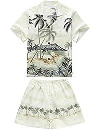 Hecho en Hawaii Luau Aloha Camisa y Pantalones Cortos Chico Juego de Cabaña Palma Borde Verde