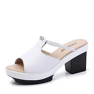 RDJM Femmes Épaisses Pantoufles Bottom High Heel Sandal Mule, Femmes Été Loisirs Fish Mouth Sandals,White,35