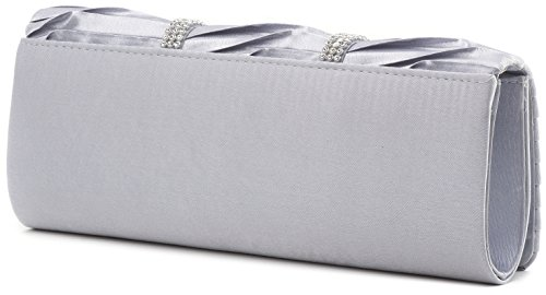 VINCENT PEREZ, Clutch, Abendtaschen, Umhängetaschen, Unterarmtaschen, Satin, Raffung, Strassstein-Verzierung, 24x9,5x4,5 cm (B x H x T), Farbe:Taupe Silber