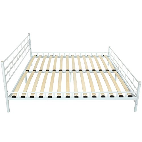 TecTake Double metal bed frame super king size modern bedroom + slatted frame - different models - (180x200cm, White)
