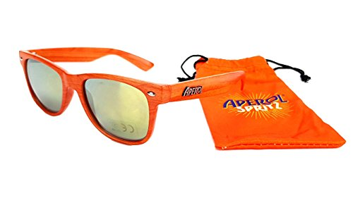 Aperol Spritz Sonnenbrille Nerd Party Wayfarer Brille in Holzoptik Orange mit Etui