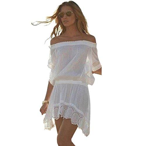 Transer ® Femmes Sexy Encolure manches courtes en mousseline de soie Bikini Cover Up Maillots de bain Robe de plage blanche(S-XL) Blanc