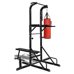 vidaXL Fitness Kraftturm mit Trainingsbank und Boxsack