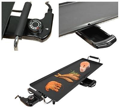XL Teppan Yaki Grillplatte 3-teilig 1800W Tischgrill Elektrogrill Partygrill Grill Antihaftbeschichtet 78,2x10,5x26cm GS geprüfte Sicherheit
