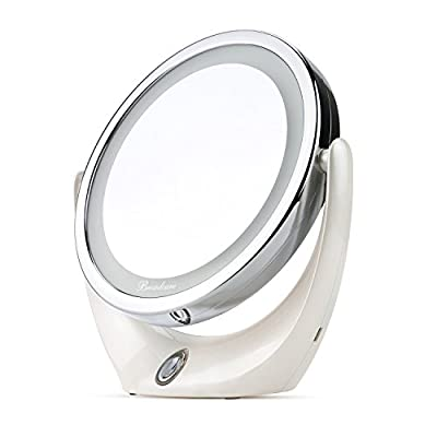 BROADCARE Makeup Mirror LED Lighted 1X/ 5X Double Sided Magnification USB Rechargeable Portable Cosmetic Vanity Mirror with Lights for Travel,Bathroom - inexpensive UK light shop.