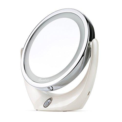 BROADCARE Espejo de Maquillaje con Luces LED 1X / 5X de Aumento de Doble Cara Espejo Cosmético Portátil para Vanidad, Afeitado o Viaje