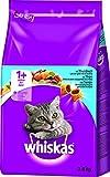 Whiskas Katzen-/Trockenfutter Adult 1+ für erwachsene Katzen mit Thunfisch, 3 Beutel (3 x 3,8 kg)