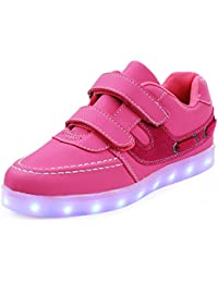 Unisex-Kinder Sneaker Laufschuhe Trekking Klettverschluss Hohl Akmungsaktiv Rutschfest Abriebfest Spotlich Schuhe Schwarz-Pink 35