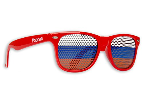 2 x Fanbrille Russland - Russia- Sonnenbrille - Brille Russia - Rot - Fan Artikel