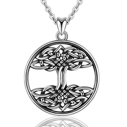 CELESTIA Baum des Lebens Halskette, 925 Sterling Silber Gedrehte Liebe Baum Anhänger Halskette für Mädchen und Frauen, 46 CM Kette, Schmuck Geschenke für Mutter/Frau/Freunde