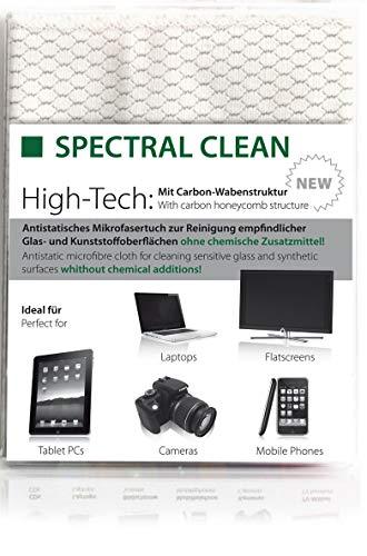 Spectral ► Profi Carbon-Microfasertuch ◄ für Brillen, Kameras, LCD/LED TV, Laptops, Smartphones, Touchscreen Display, Smartphones, Glas, LCD-Bildschirme und Andere empfindlichen Oberflächen