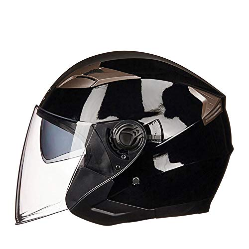 LPC Elektrische Motorrad Helm Batterie Auto Doppel Objektiv Hälfte Helm Sommer Half-Covered Helm Vier Jahreszeiten Persönlichkeit Retro Mode (Size : M) -