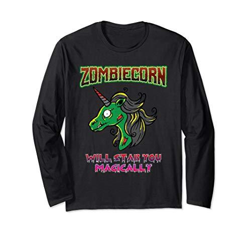 Zombie Kostüm Einhorn - Zombiecorn Zombie Unicorn Böses Einhorn Halloween Kostüm Langarmshirt