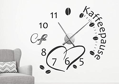 timalo Wanduhr Wandtattoo Spruch 'Kaffeepause' mit Uhrwerk – Kaffee Uhr zum Aufkleben für die...