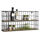 LIFA LIVING Vintage Wall Shelf, Wood and Black Metal, with 2 Shelves, - Wooden Shelf, Natural Style, Spice Rack, Kitchen Shelf, 2 Shelves - Kitchen Rack or Spice Rack, 68 x 35 x 16 cm