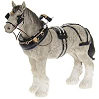Leonardo Grey Shire Cart Heavy Horse in harness ornament, quality figurine, gift boxed