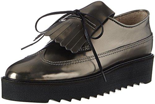 Marc O'Polo Lace Up Shoe 70814243402102, Mocasines para Mujer, Silber (Gunmetal), 37 EU