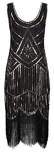 Ro Rox 1920er Jahre Great Gatsby Kleid - Schwarz & Gold (2XL - 44)