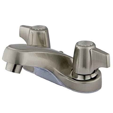 Kingston Brass KB160SNLP American Twin Canopy Handles 4-Inch Centerset Faucet,