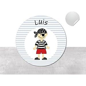 Namensaufkleber • Pirat Luis • 24/120/240 Stück (N57) kunterbunte Aufkleber vom Papierbuedchen