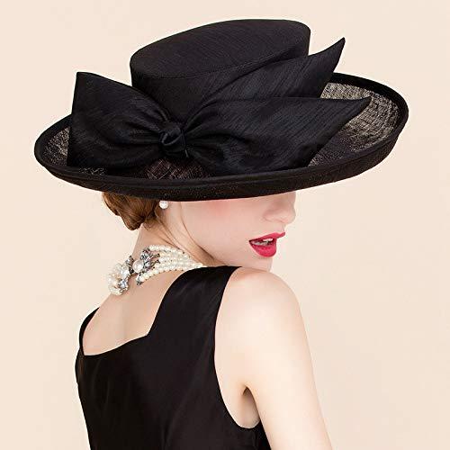 YFDZZSP Sommer Hochzeit Schwarz Leinen Fedora Hut Für Frauen Große Krempe Bowknot Kleid Kentucky Derby Hüte -