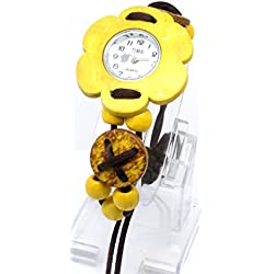 Yellow Beaded Strap Watch with Brown Sliding Knot Fastener with White Round Face with Yellow Flower Shaped Bezel