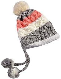 Boomly Sombrero De Invierno Mujer Sombrero Hecho Punto Beanie Gorro Hat con  Pompon para Ski Snowboard a3e2b784253