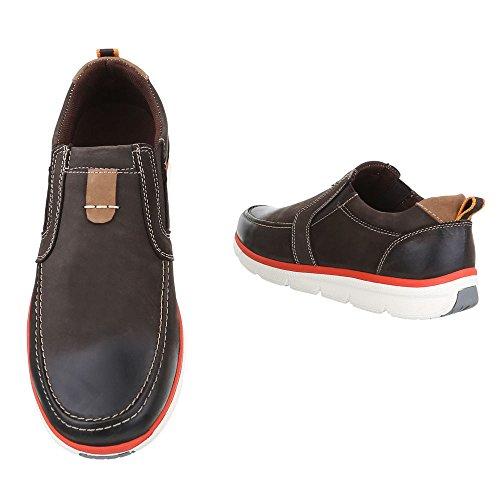 Ital-Design Slipper Herren Leder Schuhe Low-Top Moderne Halbschuhe Braun