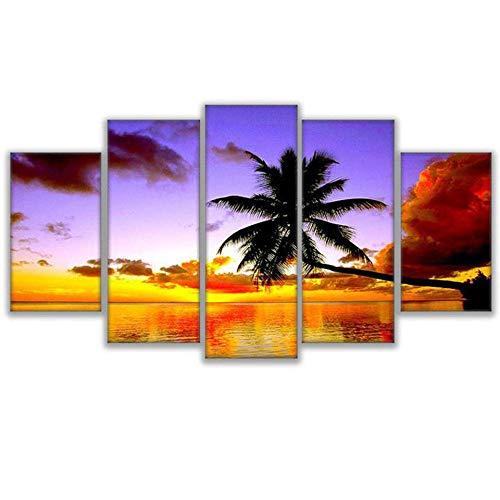 FYBSNDY Malerei Kunst Poster Wand 5 Panel Palm Tree Landschaft Bild Dekoration Druck Leinwand Wohnzimmer 40X60Cmx2 40X80Cmx2 40X100Cmx1 Kein Rahmen -