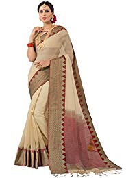 Pisara Women's Banarasi Cotton Silk Saree With Blouse Piece,Beige