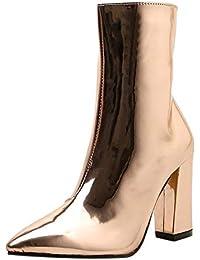 Sunnyuk Damen Stiefeletten Leder Spitz Zehen Reißverschluss einfarbig Ankle  Boots Winter Warme Elegant Geschäft Größe 35 38dd723c8a