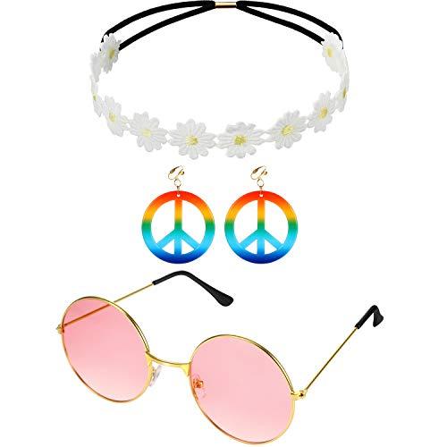 Jahre Kostüm 70er Niedliche - Gejoy 3 Stücke Hippie Kostüm Set, Einschließen Sonnenbrille, Friedenszeichen Ohrringen und Sonnenblumen Stirnband für Damen Mädchen Karneval Party Tragen